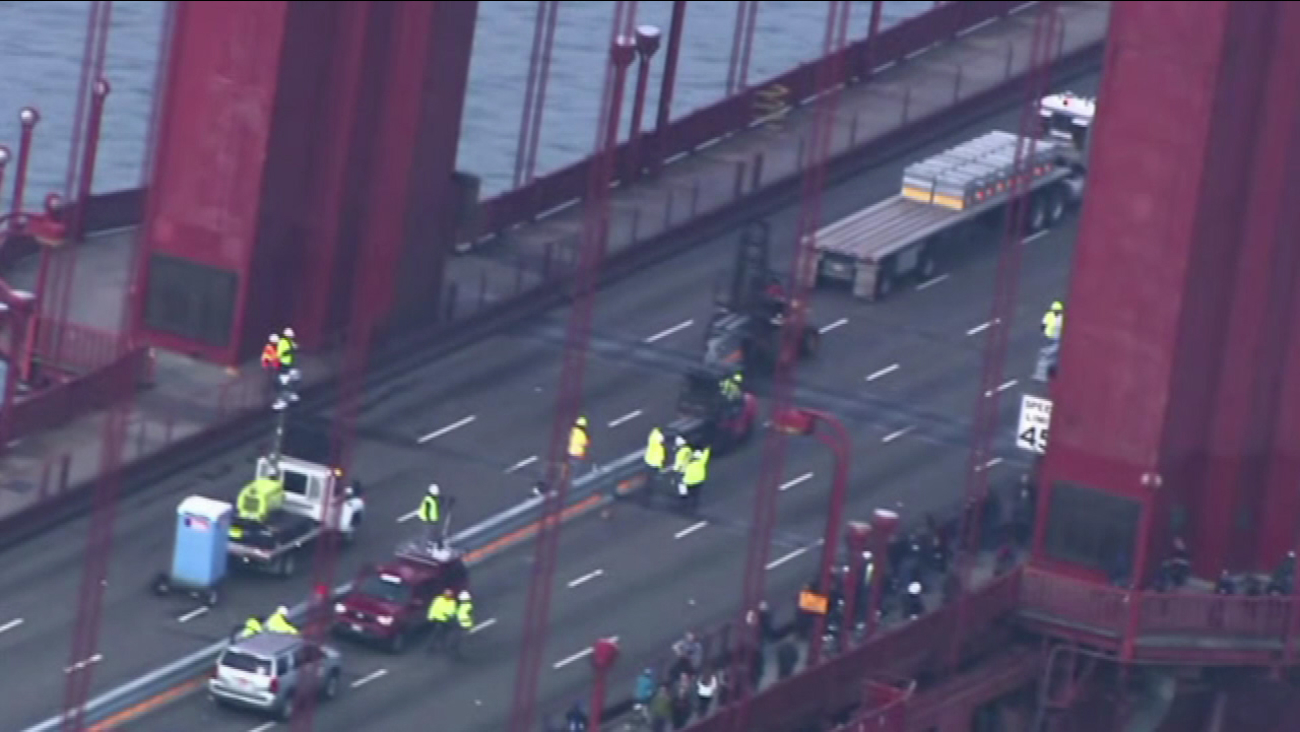 Yellow-clad work crews shared San Francisco's iconic Golden Gate Bridge with only bikers, runners, and seabirds Saturday, Jan. 10, 2015.