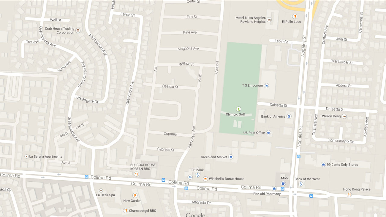 This Google Maps image indicates the area near the 1400 block of Paso Real Avenue in Rowland Heights.