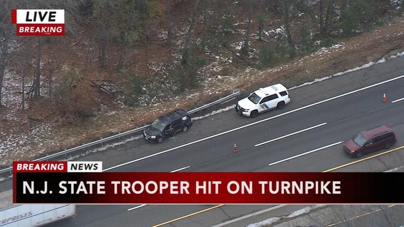 State police trooper struck, injured at crash scene on New Jersey Turnpike
