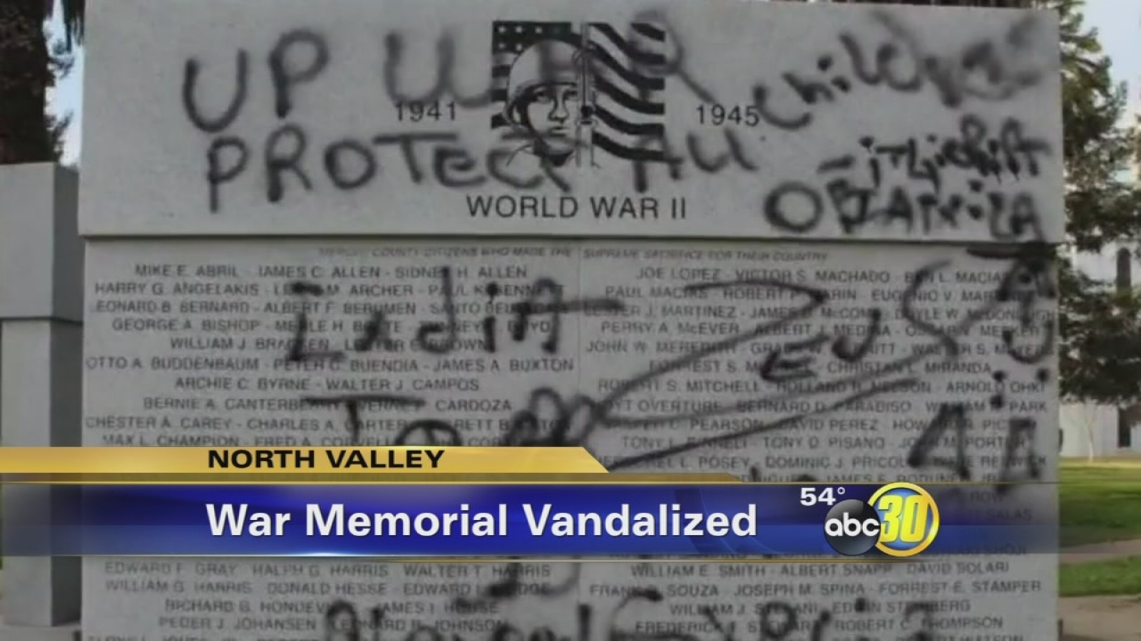 Wwii Memorial Vandalized In Merced Abc30 Fresno