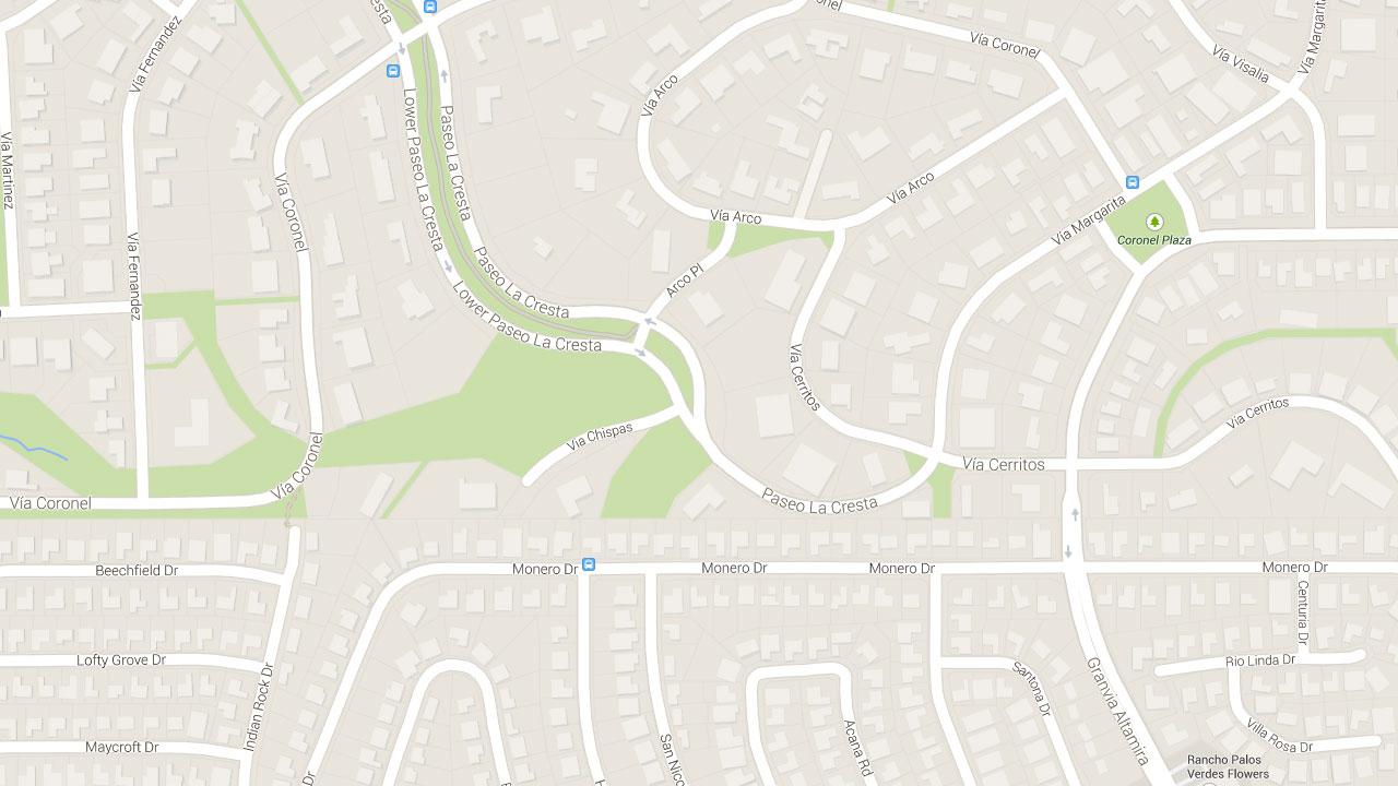 This Google Maps image indicates the area near the 1700 block of Lower Paseo La Cresta in Palos Verdes Estates.