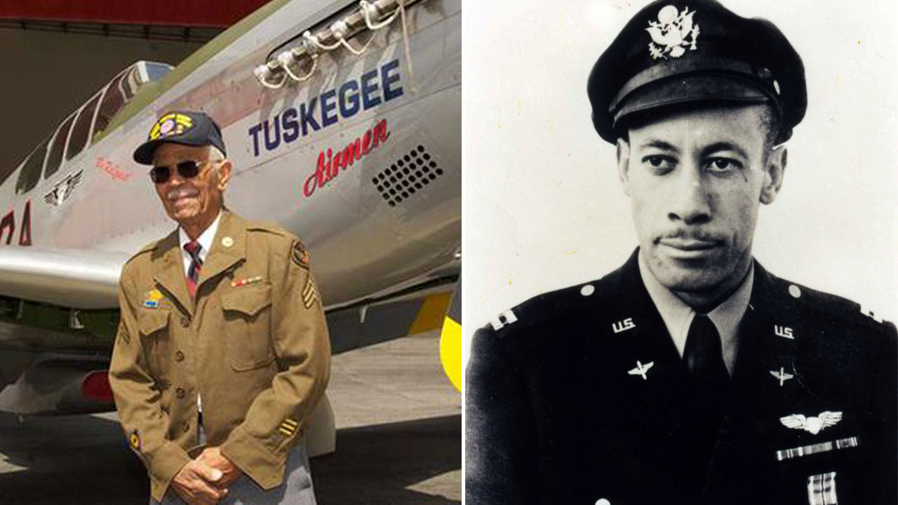 """This April 7, 2011 photo by Bruce Talamon shows Clarence E. """"Buddy"""" Huntley Jr. (left). This July 1943 photo shows Lowell C. Steward (right)."""