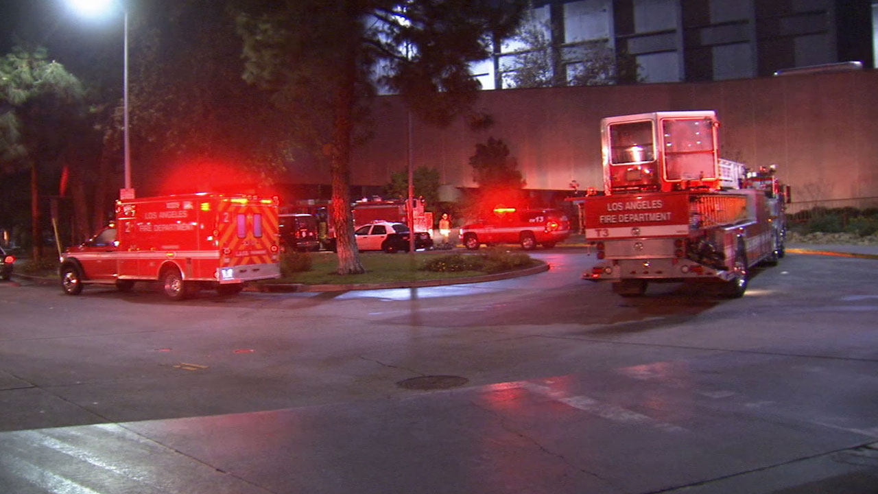 Los Angeles firefighters respond to the scene of several small fires at the Men's Central Jail in downtown Los Angeles Sunday, Jan. 11, 2015.