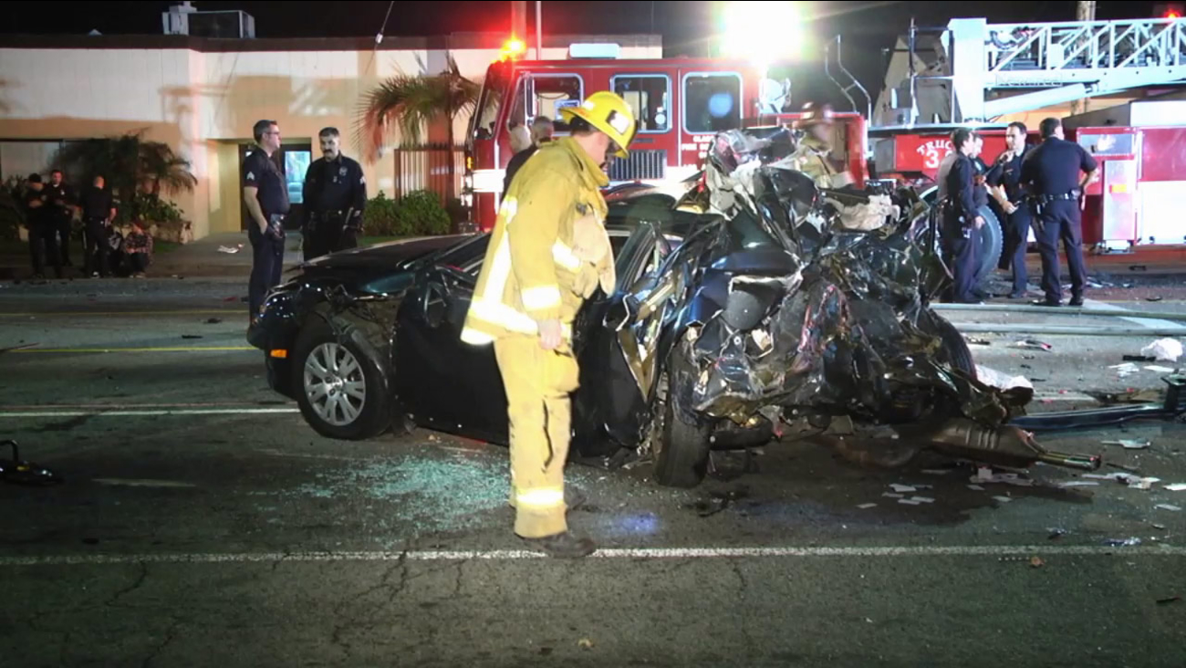 Police and firefighters respond to a multi-vehicle accident in Van Nuys on Sunday, Jan. 11, 2015.