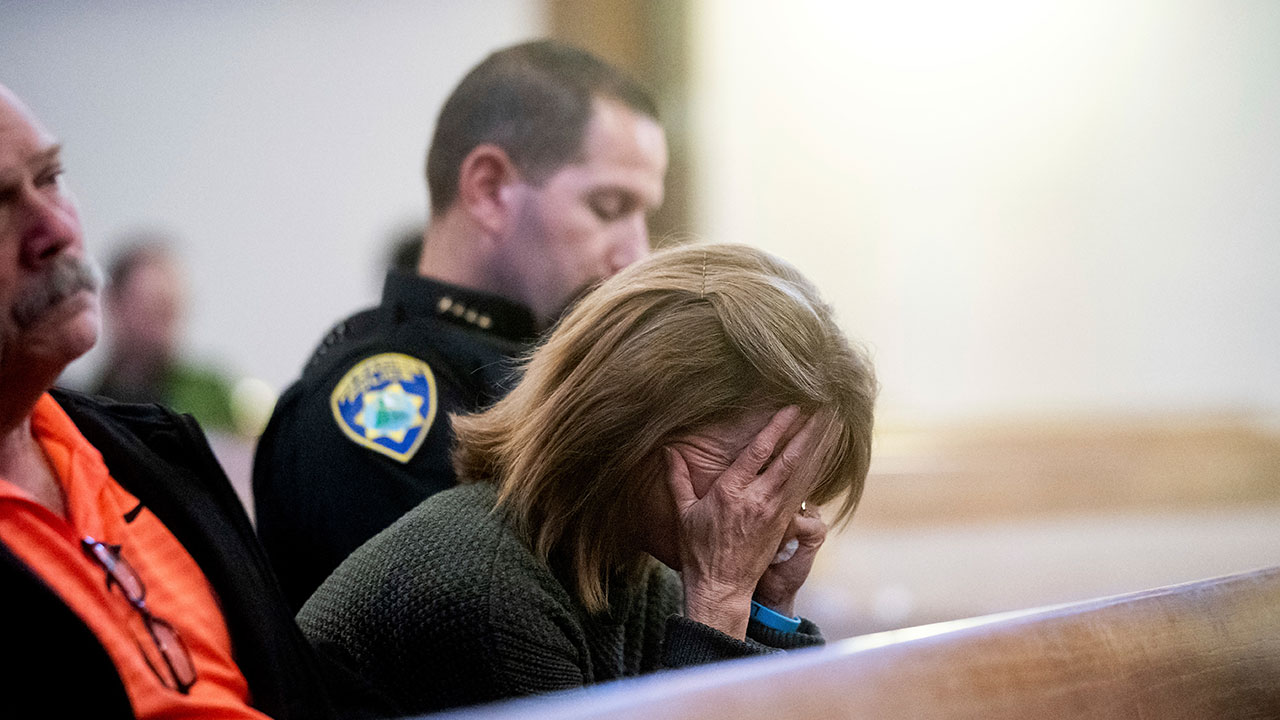<div class='meta'><div class='origin-logo' data-origin='none'></div><span class='caption-text' data-credit='Noah Berger, Pool/AP Photo'>Paradise Town Manager Lauren Gill cries during a vigil for Camp Fire victims on Sunday, Nov. 18, 2018, at the First Christian Church of Chico in Chico, Calif.</span></div>