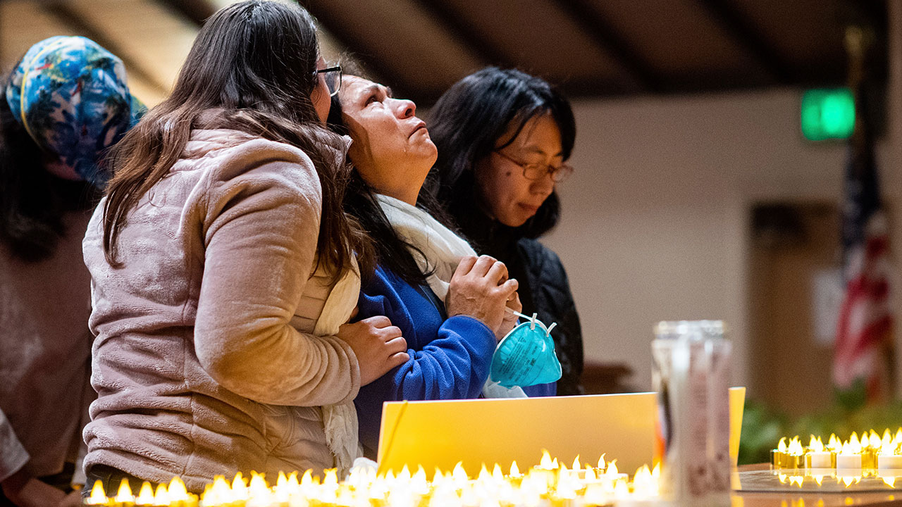 <div class='meta'><div class='origin-logo' data-origin='none'></div><span class='caption-text' data-credit='Noah Berger/AP Photo, Pool'>Lidia Steineman, who lost her home in the Camp Fire, prays during a vigil for fire victims on Sunday, Nov. 18, 2018, in Chico, Calif.</span></div>