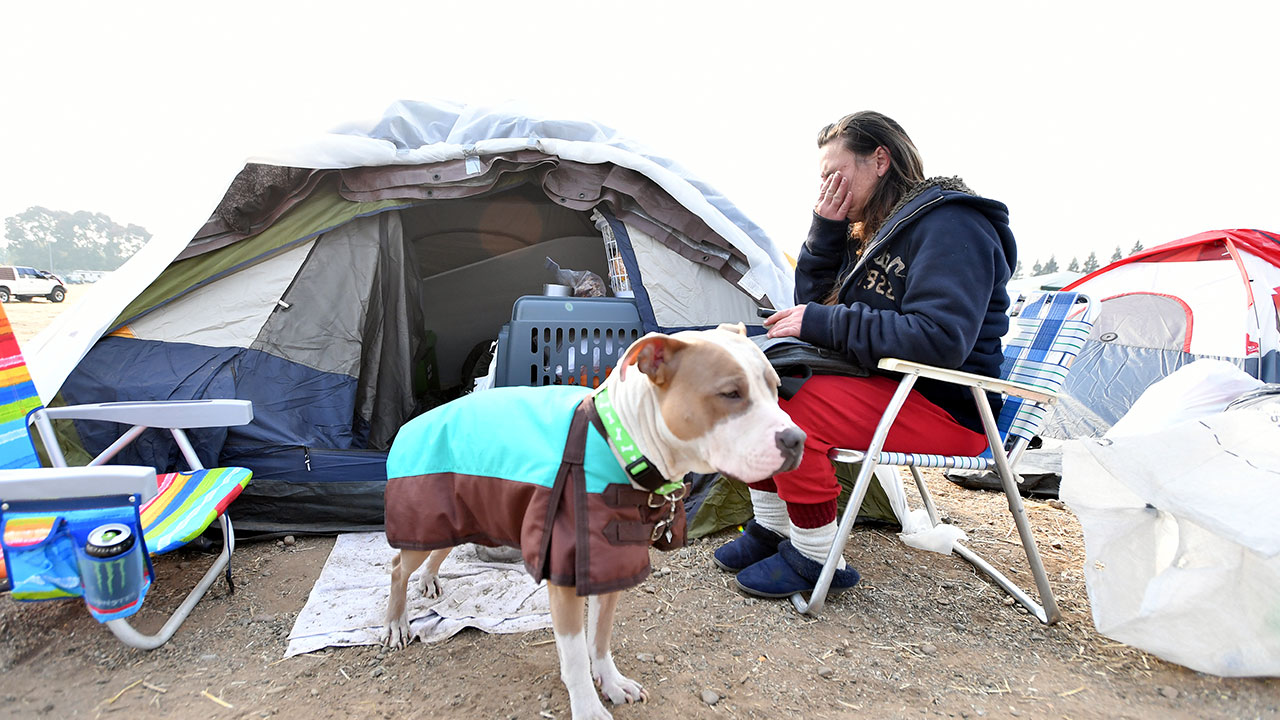 <div class='meta'><div class='origin-logo' data-origin='none'></div><span class='caption-text' data-credit='Josh Edelson for the Washington Post'>Evacuee Brenda Wilson, of Magalia, sits outside her tent with her dog Scooby at an evacuee encampment at a Walmart parking lot in Chico, California on November 19, 2018.</span></div>