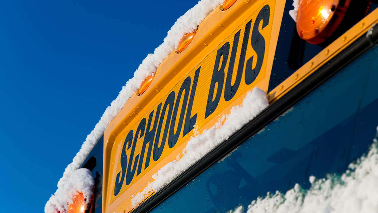 School bus in the snow