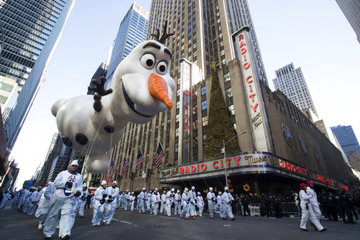 "<div class=""meta image-caption""><div class=""origin-logo origin-image none""><span>none</span></div><span class=""caption-text"">The Olaf balloon floats past Radio City Music Hall during the 92nd annual Macy's Thanksgiving Day Parade, Thursday, Nov. 22, 2018, in New York. (AP Photo/Mary Altaffer) (AP)</span></div>"