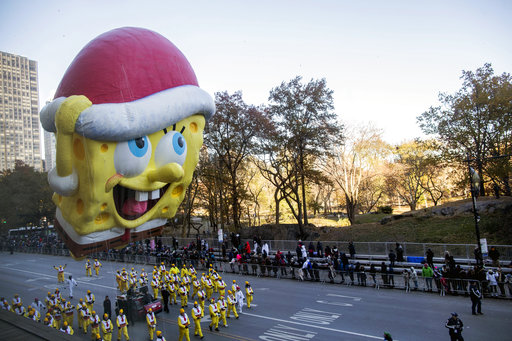 <div class='meta'><div class='origin-logo' data-origin='none'></div><span class='caption-text' data-credit='AP'>The SpongeBob SquarePants balloon floats across Central Park South during the 92nd annual Macy's Thanksgiving Day Parade, Thursday, Nov. 22, 2018, in New York.</span></div>