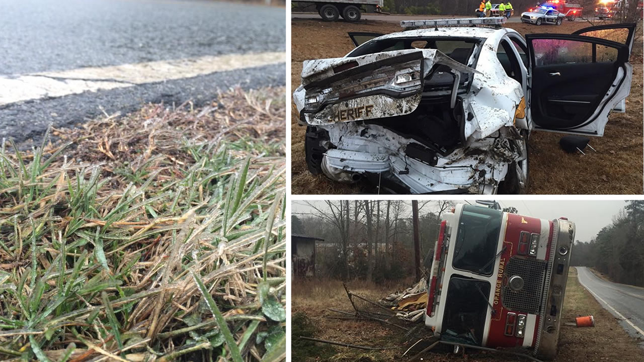 A layer of ice on roads led to dozens of accidents Wednesday. Some involved the emergency workers trying to help.