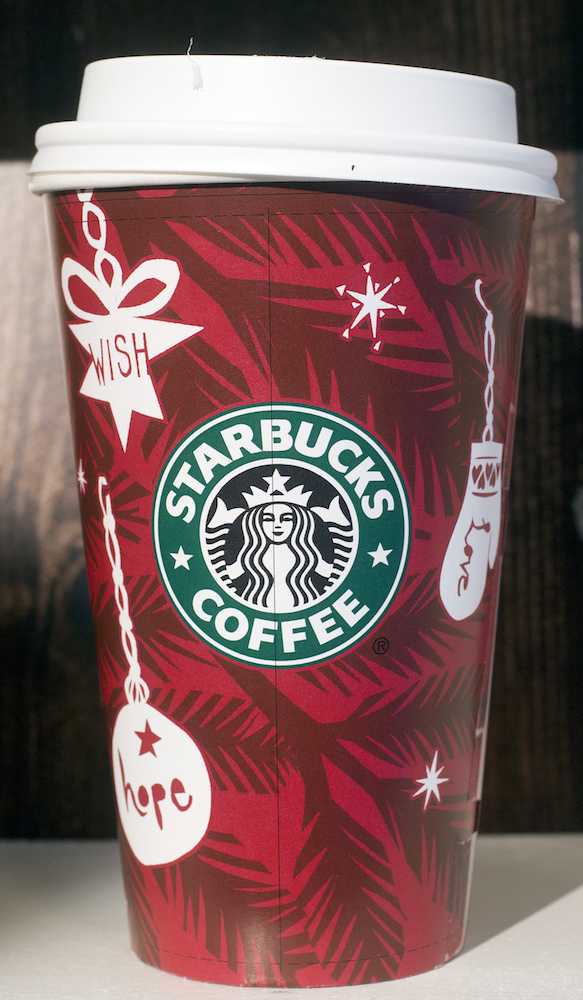 <div class='meta'><div class='origin-logo' data-origin='AP'></div><span class='caption-text' data-credit='AP Photo/Mark Lennihan'>A 2009 Starbucks holiday cup is displayed, Thursday, Nov. 9, 2017, at a Starbucks in New York. The Seattle-based company is celebrating 20 years of holiday coffee cups.</span></div>