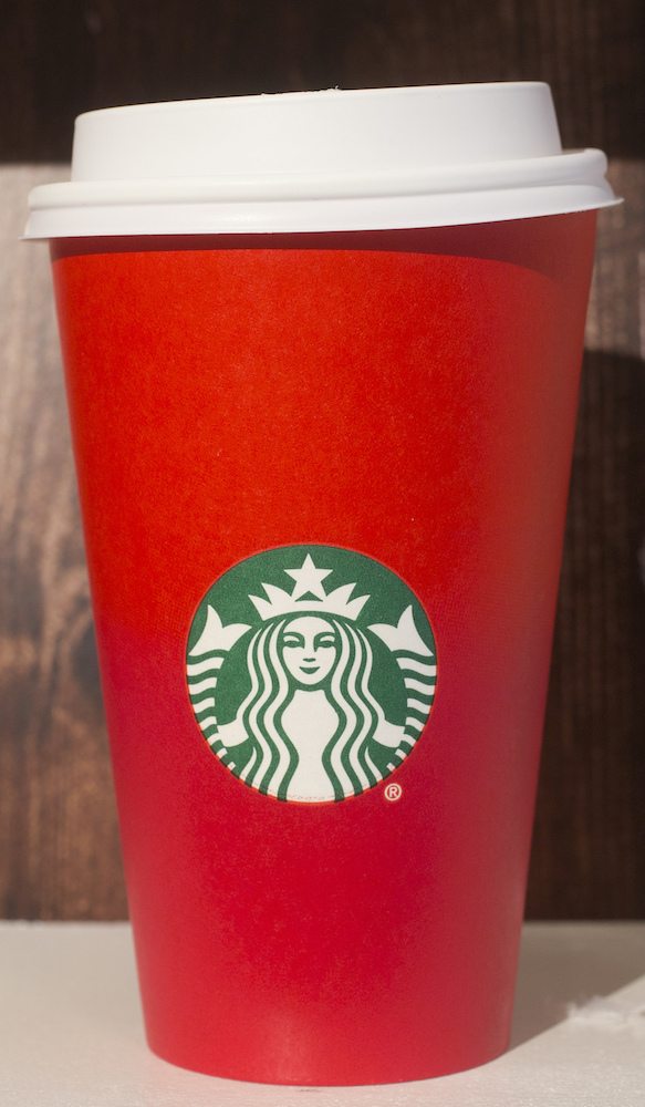 <div class='meta'><div class='origin-logo' data-origin='AP'></div><span class='caption-text' data-credit='AP Photo/Mark Lennihan'>A 2015 Starbucks holiday cup is displayed, Thursday, Nov. 9, 2017, at a Starbucks in New York.</span></div>