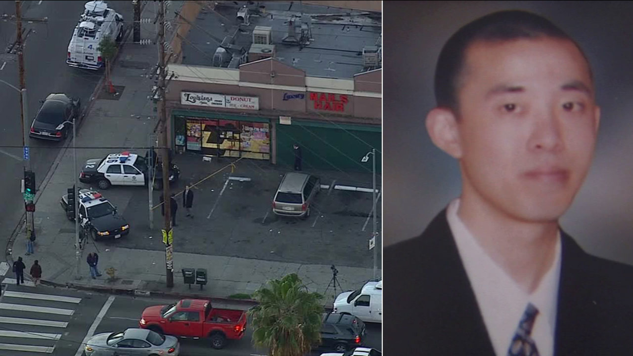 A clerk was stabbed and killed during a robbery at a doughnut shop in South Los Angeles Tuesday night.