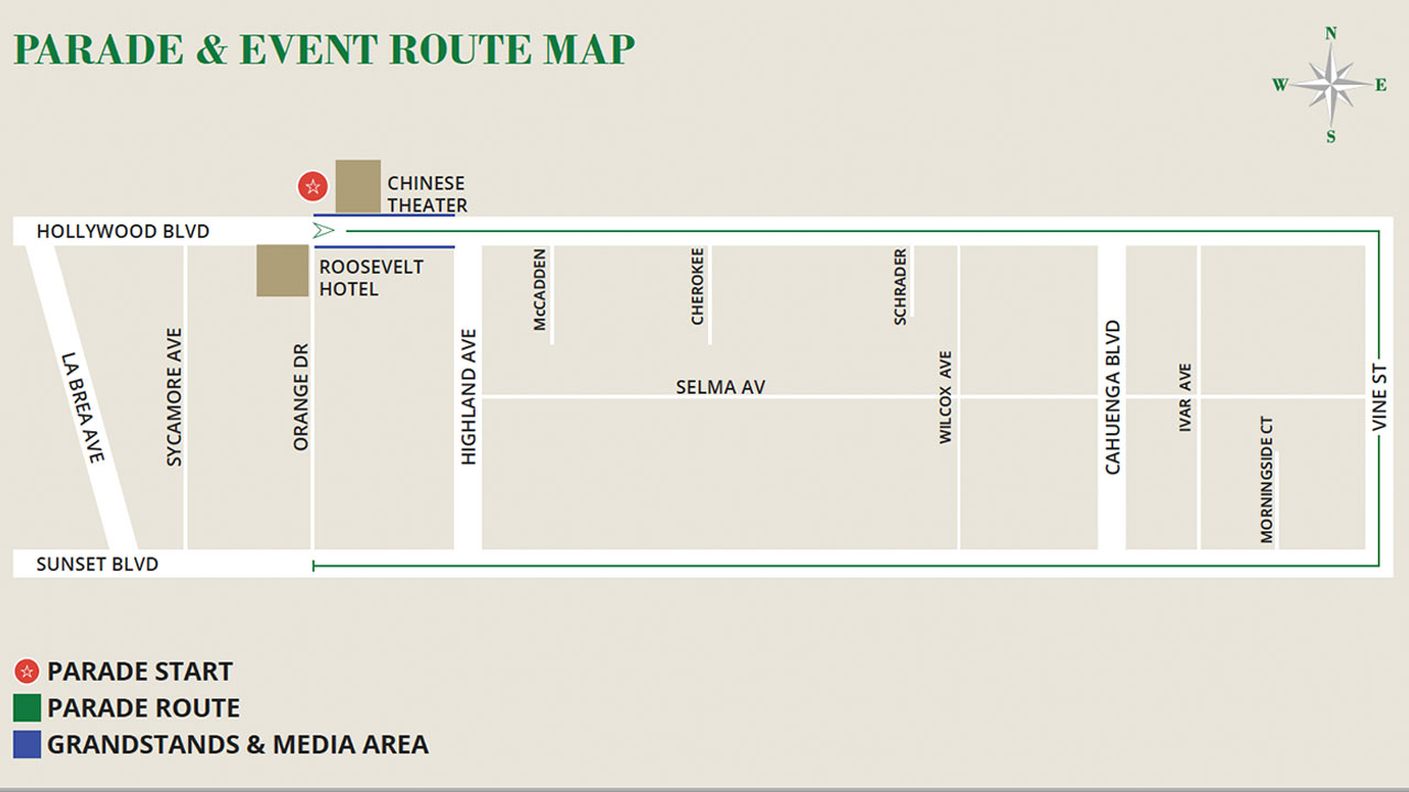 The route map for the 87th annual Hollywood Christmas Parade.