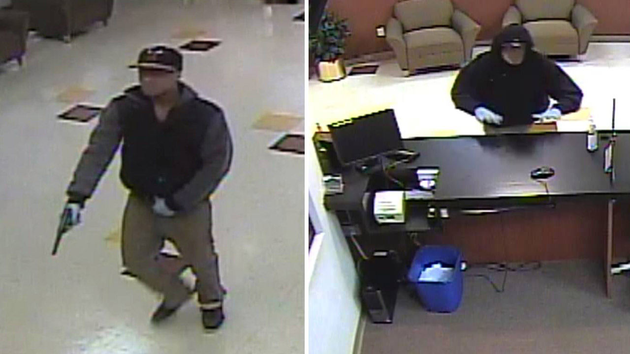 Two of the three suspects in a group nicknamed 'Two Guys and A Girl Bandits' are shown in bank surveillance video.