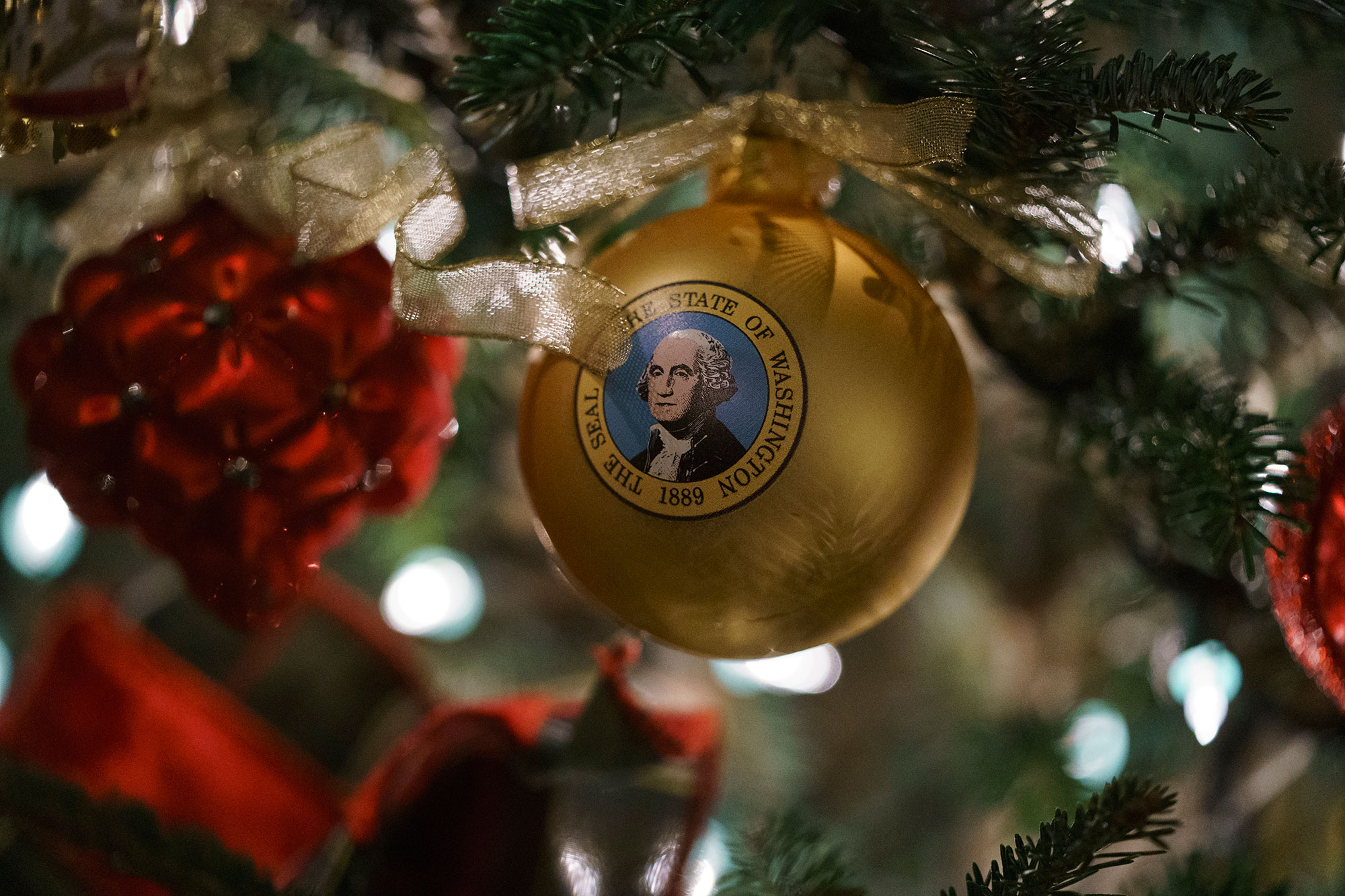 <div class='meta'><div class='origin-logo' data-origin='none'></div><span class='caption-text' data-credit='Carolyn Kaster/AP Photo'>An ornament with an image of President George Washington is seen during the 2018 Christmas preview at the White House in Washington, Monday, Nov. 26, 2018.</span></div>