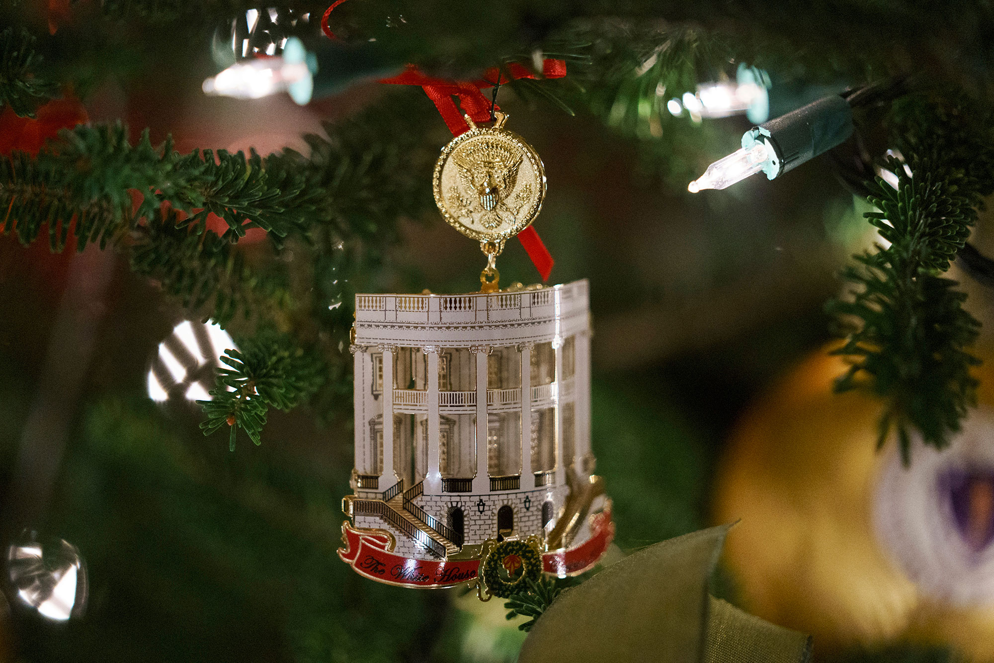 <div class='meta'><div class='origin-logo' data-origin='none'></div><span class='caption-text' data-credit='Carolyn Kaster/AP Photo'>The Official 2018 White House Christmas Ornament is seen during the 2018 Christmas Press Preview at the White House in Washington, Monday, Nov. 26, 2018.</span></div>