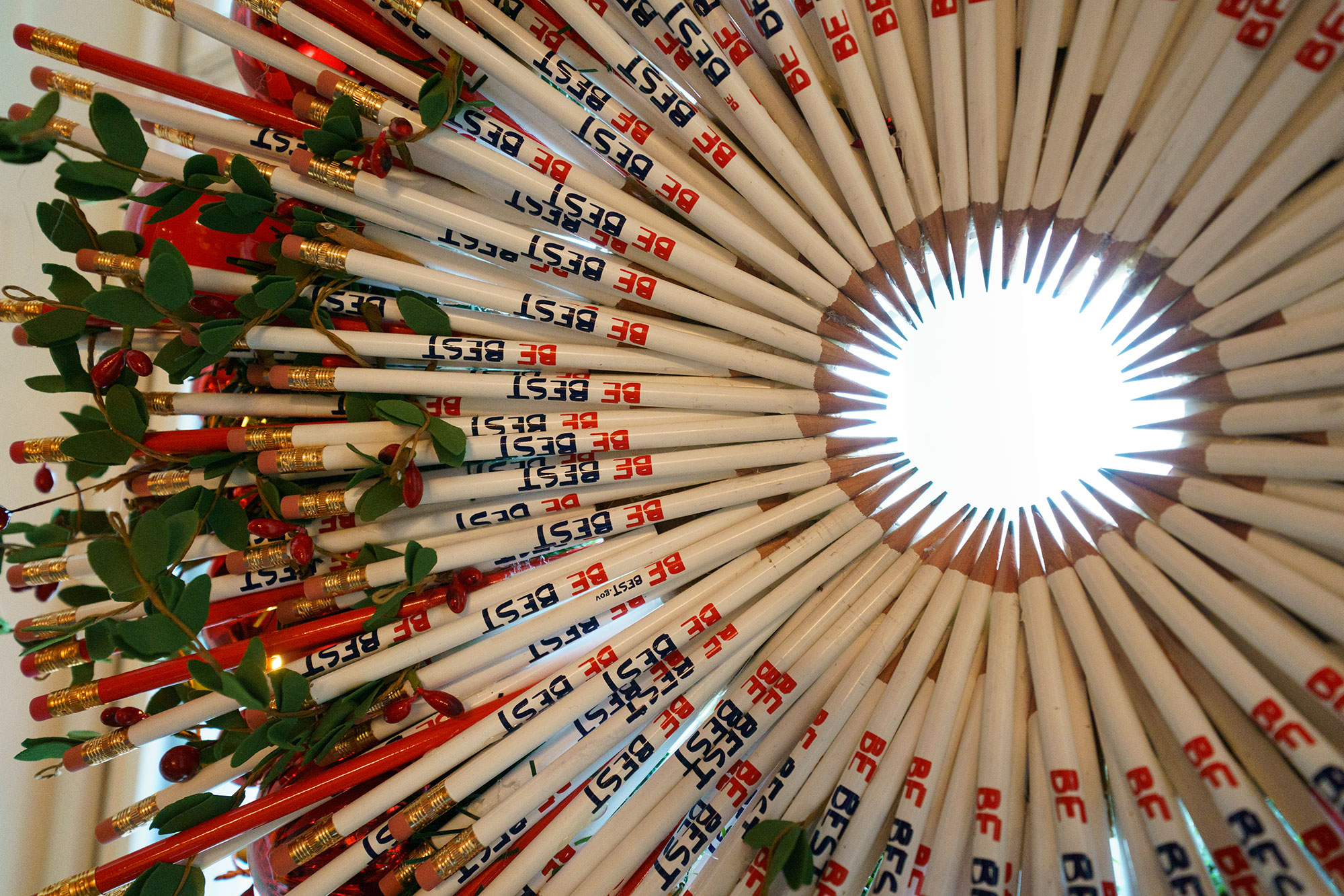 <div class='meta'><div class='origin-logo' data-origin='none'></div><span class='caption-text' data-credit='Carolyn Kaster/AP Photo'>A wreath made of &#34;Be Best&#34; pencils is seen in the Red Room during a 2018 Christmas preview at the White House in Washington, Monday, Nov. 26, 2018.</span></div>