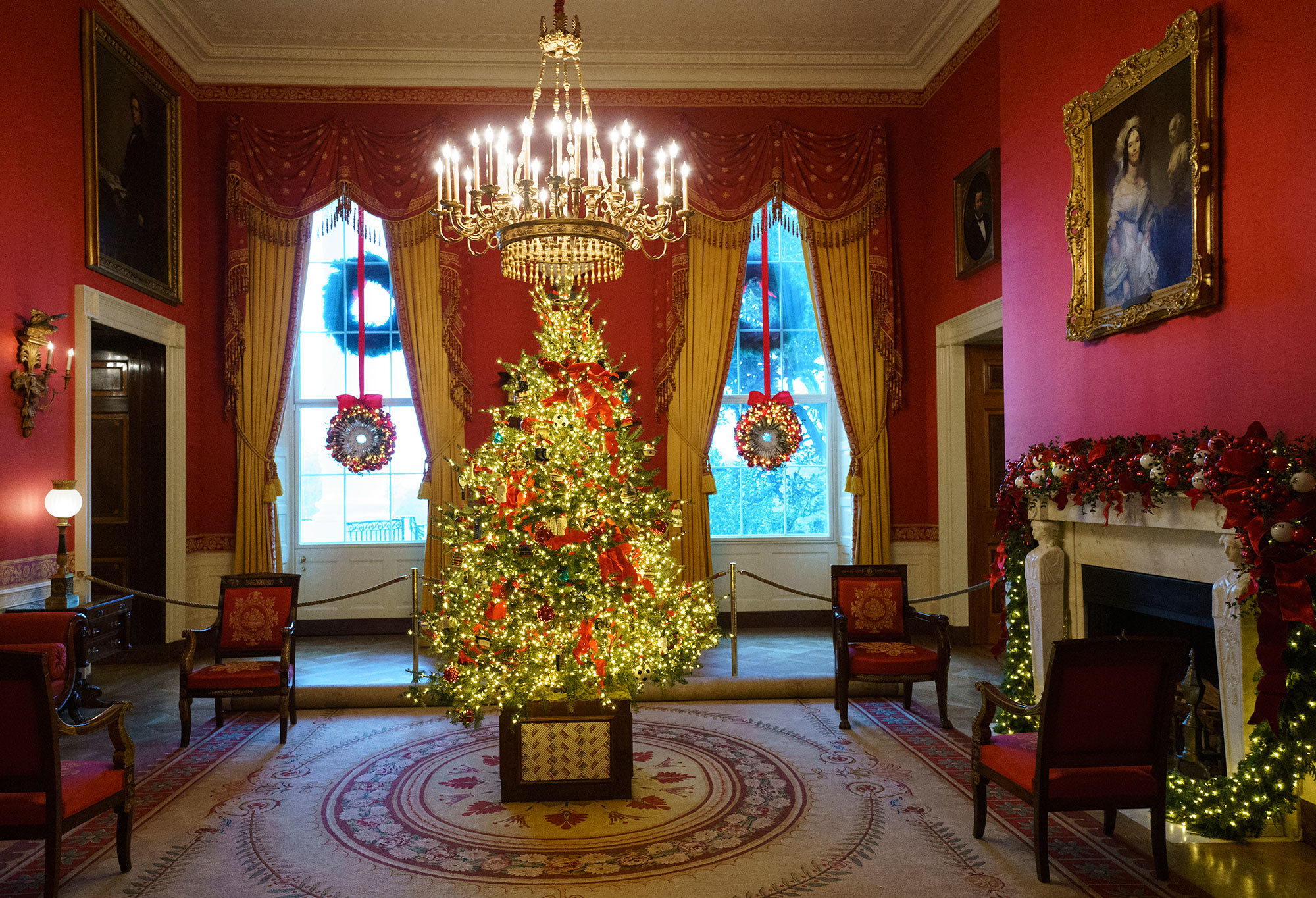 <div class='meta'><div class='origin-logo' data-origin='none'></div><span class='caption-text' data-credit='Carolyn Kaster/AP Photo'>The Red Room, with the theme to celebrate America's Children, is seen during the 2018 Christmas preview at the White House in Washington, Monday, Nov. 26, 2018.</span></div>