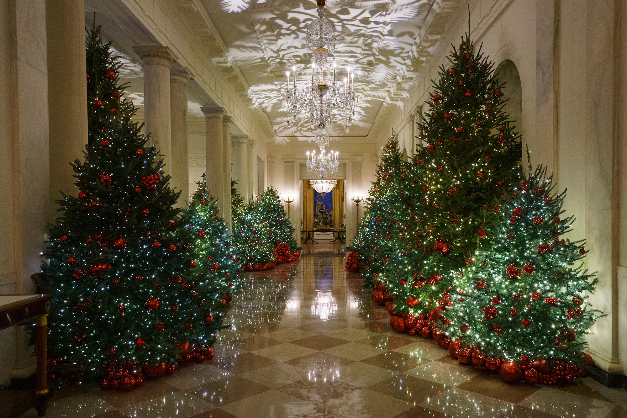 <div class='meta'><div class='origin-logo' data-origin='none'></div><span class='caption-text' data-credit='Carolyn Kaster/AP Photo'>The Cross Hall is seen during the 2018 Christmas Press Preview at the White House in Washington, Monday, Nov. 26, 2018.</span></div>