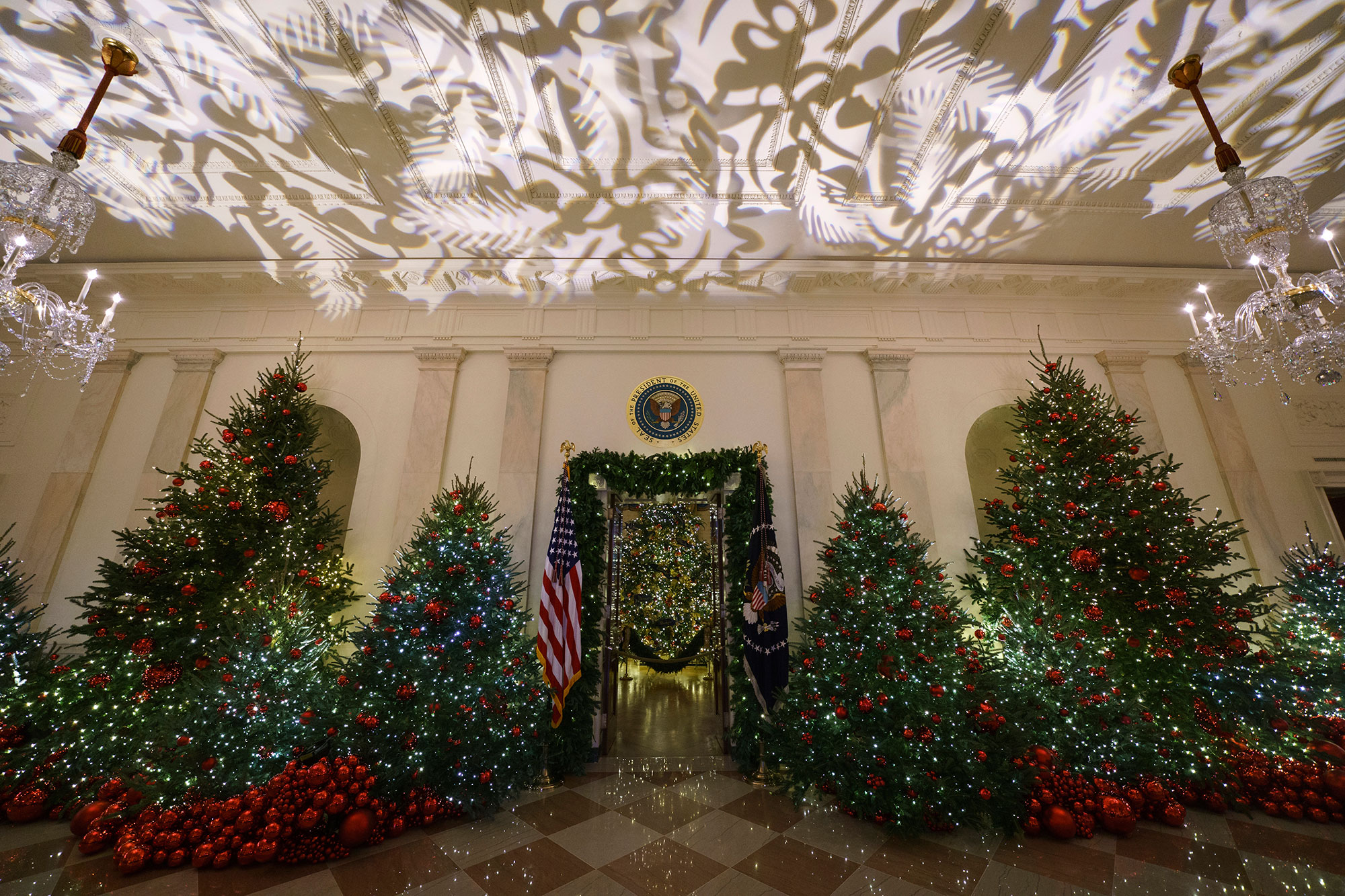 <div class='meta'><div class='origin-logo' data-origin='none'></div><span class='caption-text' data-credit='Carolyn Kaster/AP Photo'>Grand Foyer and Cross Hall leading into the Blue Room and the official White House Christmas tree are seen during the 2018 Christmas Press Preview at the White House in Washington.</span></div>