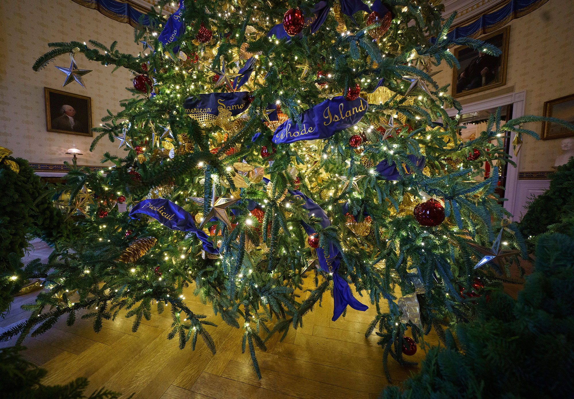 <div class='meta'><div class='origin-logo' data-origin='none'></div><span class='caption-text' data-credit='Carolyn Kaster/AP Photo'>The base of the official White House Christmas tree is seen in the Blue Room during the 2018 Christmas Press Preview at the White House in Washington, Monday, Nov. 26, 2018.</span></div>