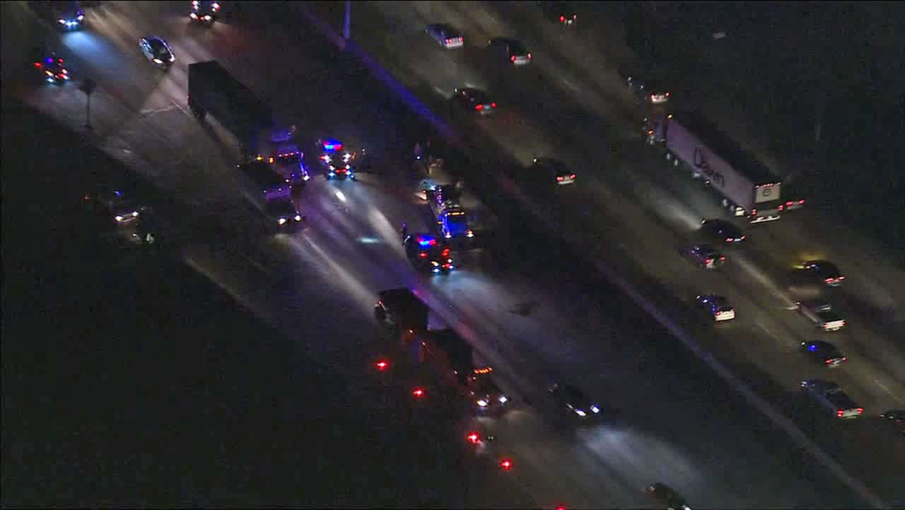 A crash forced the closure of eastbound lanes on the 60 Freeway in South El Monte Friday, Jan. 16, 2015.