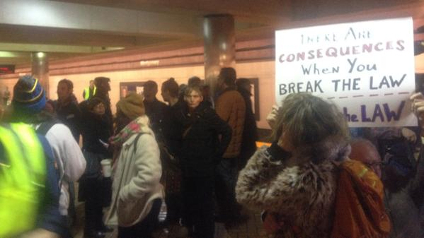 """<div class=""""meta image-caption""""><div class=""""origin-logo origin-image """"><span></span></div><span class=""""caption-text"""">Trains leaving SF for Oakland were not stopping at the Montgomery St. BART station due to the protest on Friday, Jan. 16, 2015. (@amyhollyfield)</span></div>"""