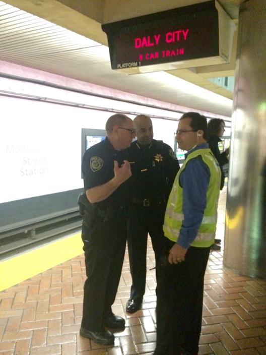 """<div class=""""meta image-caption""""><div class=""""origin-logo origin-image """"><span></span></div><span class=""""caption-text"""">SFPD and BART police try to chat over spoon banging at the Montgomery St. station on Friday, Jan. 16, 2015. (KGO)</span></div>"""