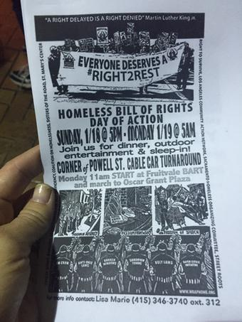 """<div class=""""meta image-caption""""><div class=""""origin-logo origin-image """"><span></span></div><span class=""""caption-text"""">Flyers about other protests planned for the weekend were handed out on Friday, Jan. 16, 2015. (@amyhollyfield)</span></div>"""