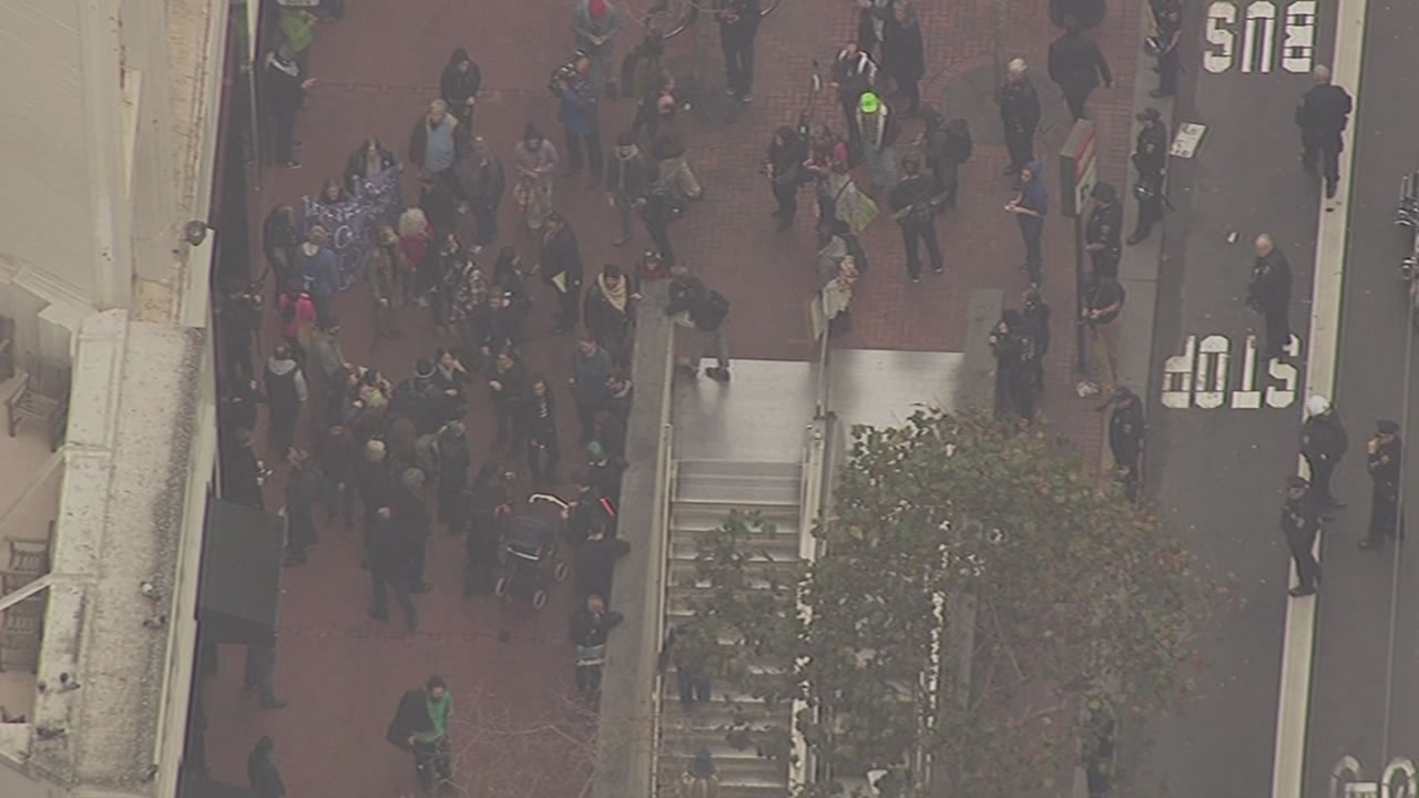 """<div class=""""meta image-caption""""><div class=""""origin-logo origin-image """"><span></span></div><span class=""""caption-text"""">Protesters outside a San Francisco BART station on Friday, Jan. 16, 2015. (KGO)</span></div>"""