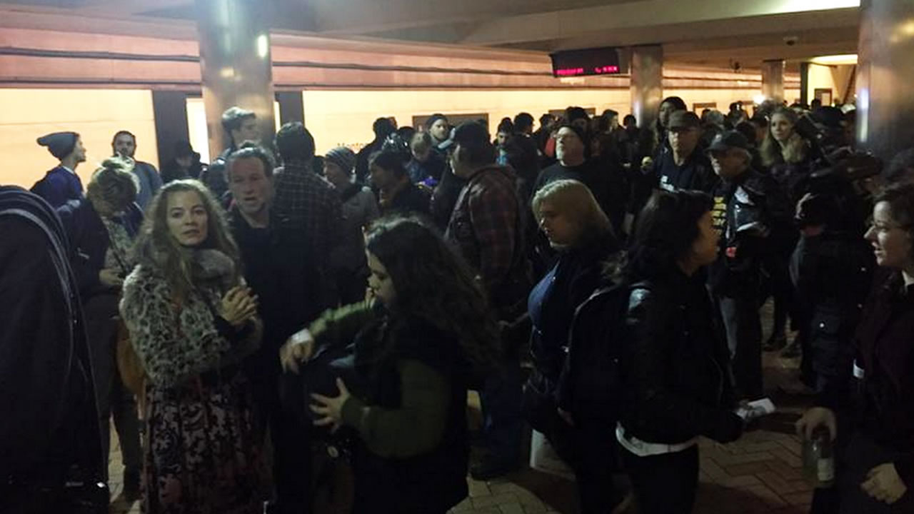 """<div class=""""meta image-caption""""><div class=""""origin-logo origin-image """"><span></span></div><span class=""""caption-text"""">Passengers await BART trains in SF as demonstrators try to disrupt the morning commute on Friday, Jan. 16, 2015 (KGO)</span></div>"""