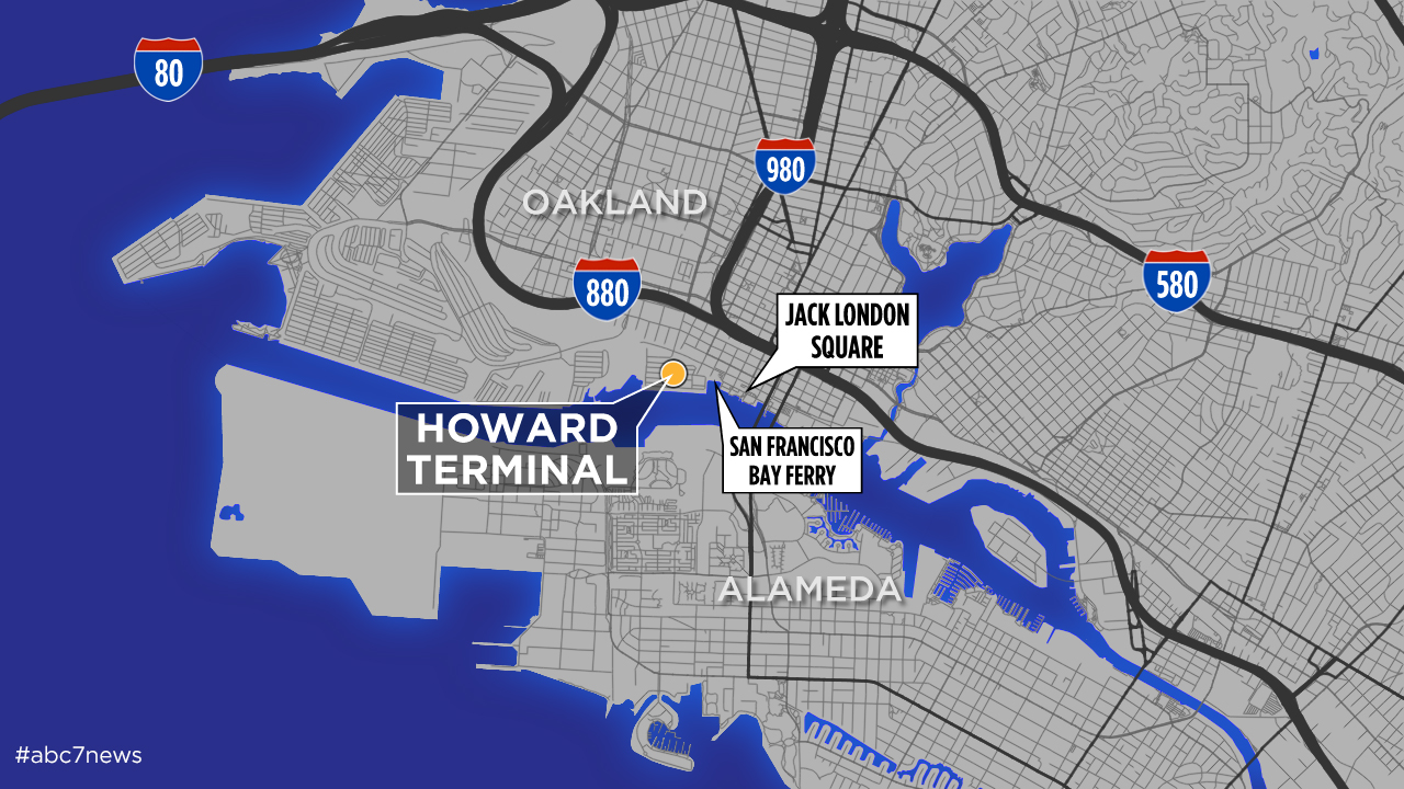 Map of Oakland A's news stadium site at Howard Terminal