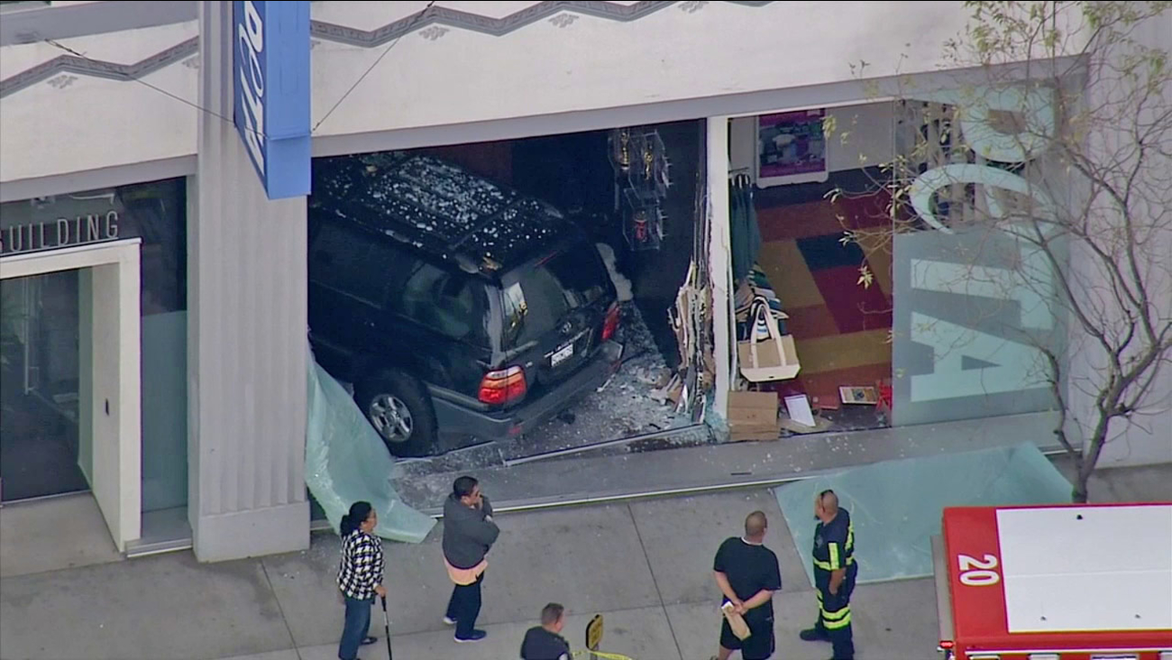 An SUV slammed into a PETA office in Echo Park on Friday, Jan. 16, 2015.