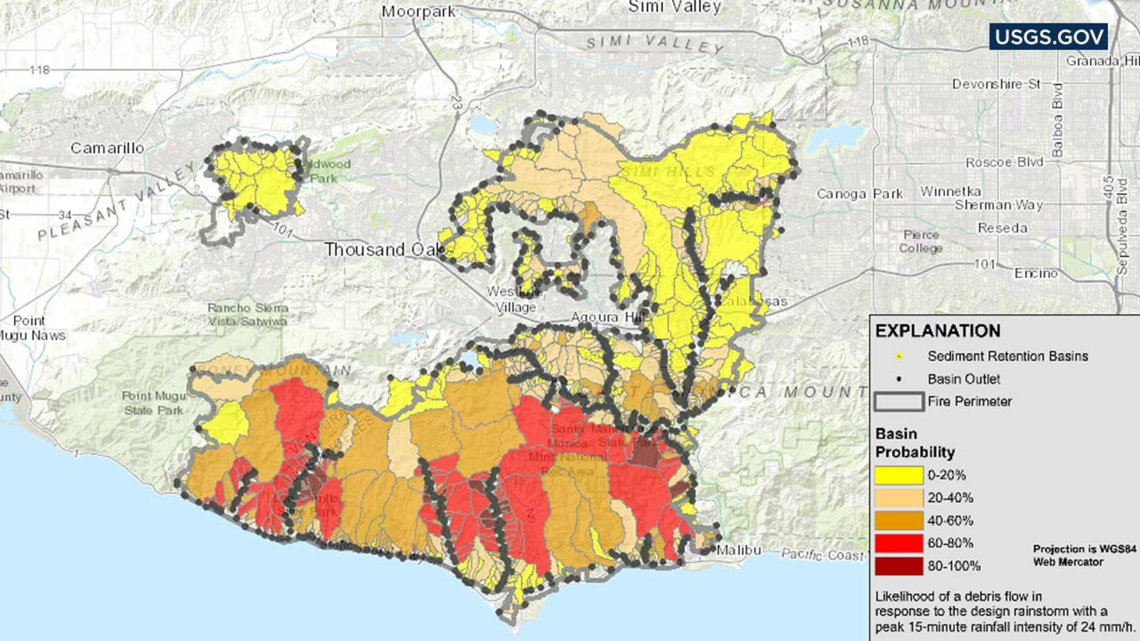 Map depicts mudslide risk in Woolsey Fire area on phoenix map, new york map, san bernardino map, san jose, escondido map, las vegas, oroville map, new york city, california map, anaheim map, new orleans, riverside map, reno nevada map, pacific palisades map, ohio map, hollywood map, long beach, san diego, beverly hills, watts map, san antonio, united states of america, brooklyn map, usa map, la map, mexico city, lax map, chicago map, hollywood sign, santa monica map, united states map, san francisco,