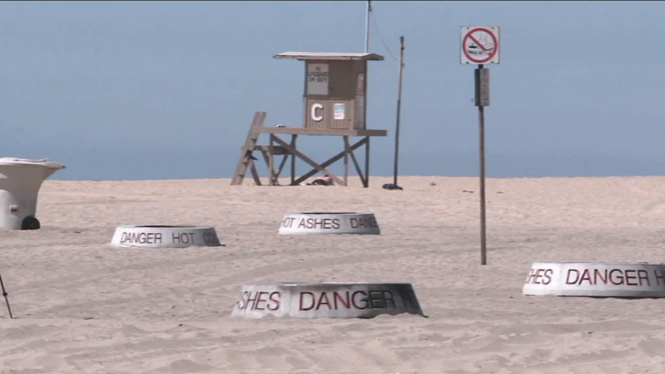 Several wood-burning fire pits are scattered throughout the beach community of Newport Beach.