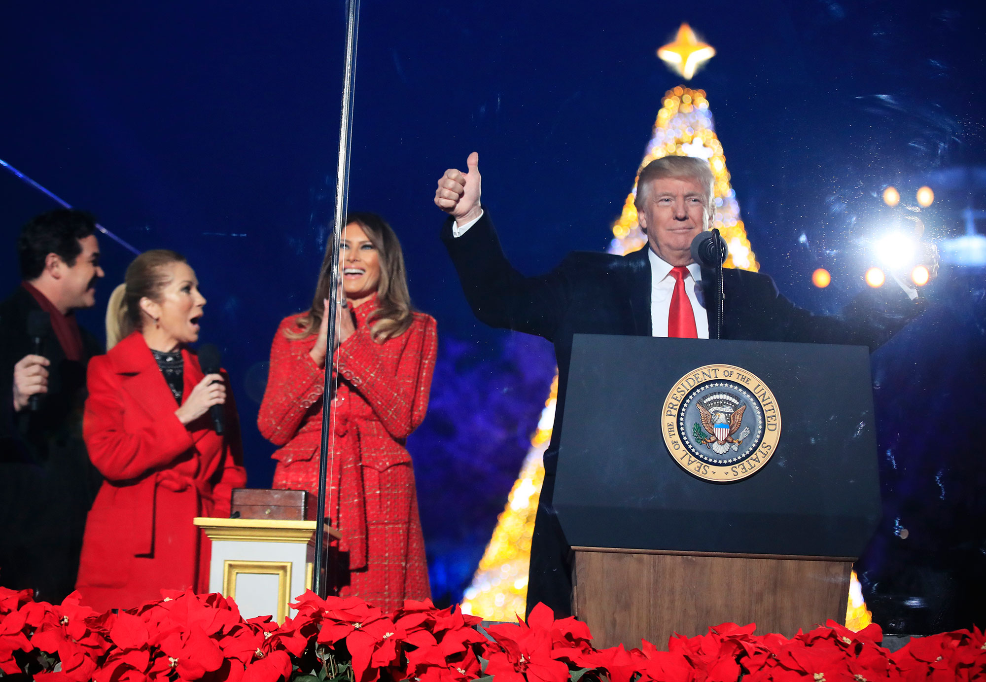 <div class='meta'><div class='origin-logo' data-origin='none'></div><span class='caption-text' data-credit='Manuel Balce Ceneta/AP Photo'>President Donald Trump and first lady Melania Trump, cheer after lighting the 2017 National Christmas Tree during the National Christmas Tree lighting ceremony at the Ellipse.</span></div>
