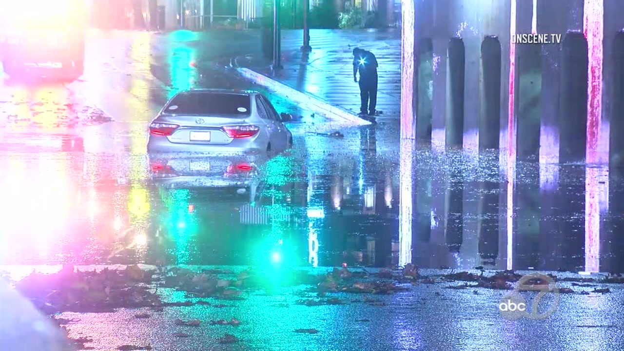 Car stuck in flooding in San Jose, California on Thursday, November 29, 2018.