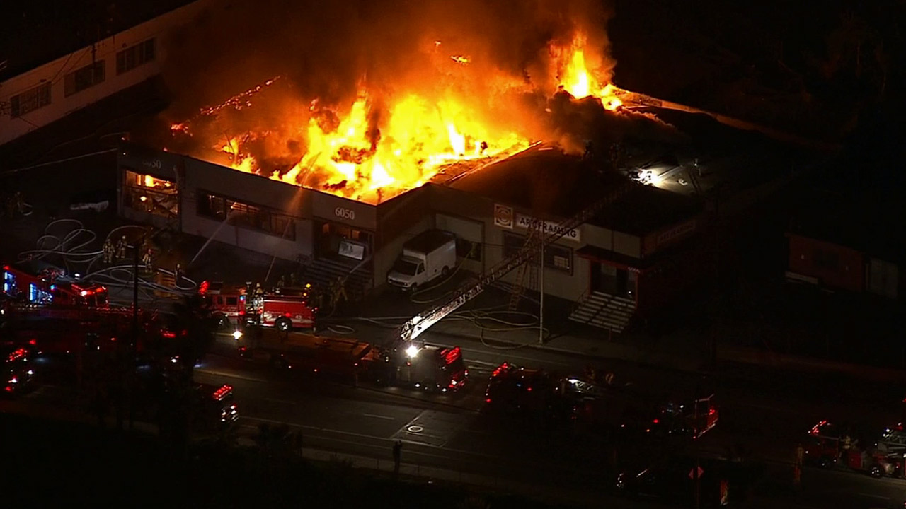 A greater alarm fire broke out in a commercial building at 6050 W. Jefferson Blvd. in Culver City, causing the roof to collapse on Friday, Jan. 16, 2015.