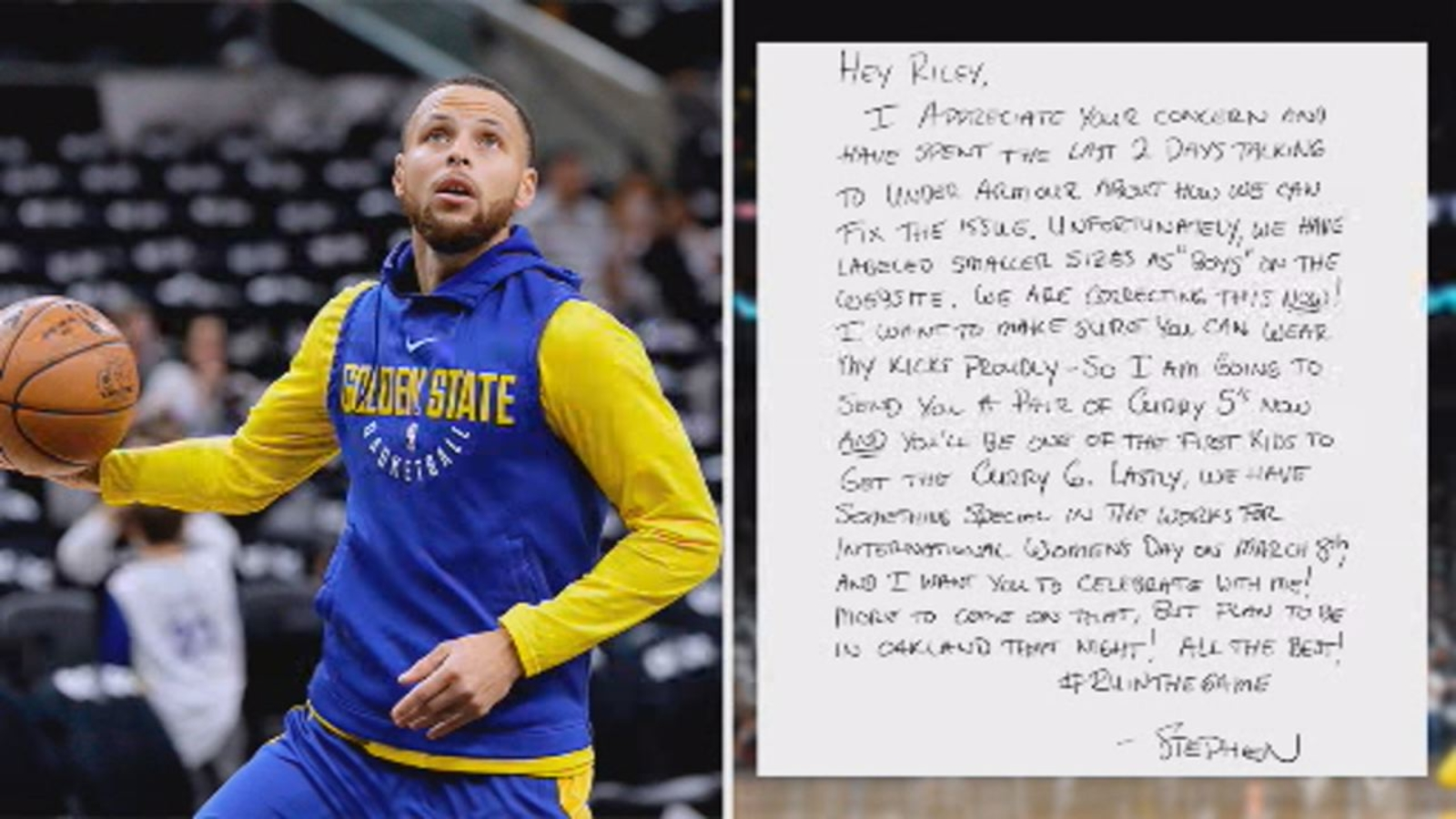 2a12913f473 Golden State Warriors star Stephen Curry responds to 9-year-old fan in Napa  who wants his sneakers in girls  sizes