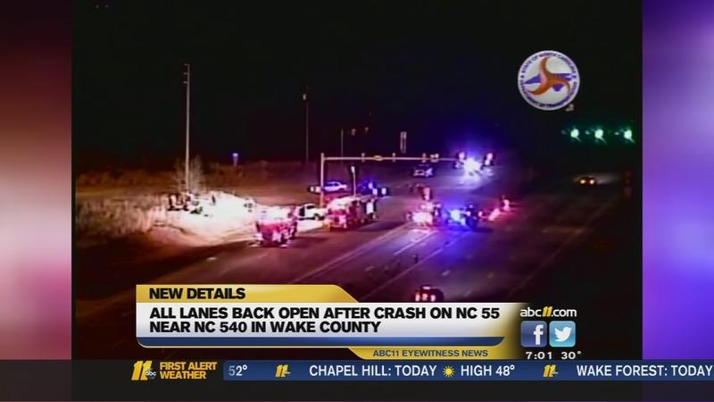 2 hurt in crash on NC 55 near NC 540 in Wake County