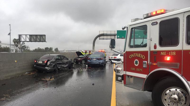 4 Ontario firefighters injured in crash on 15 Freeway