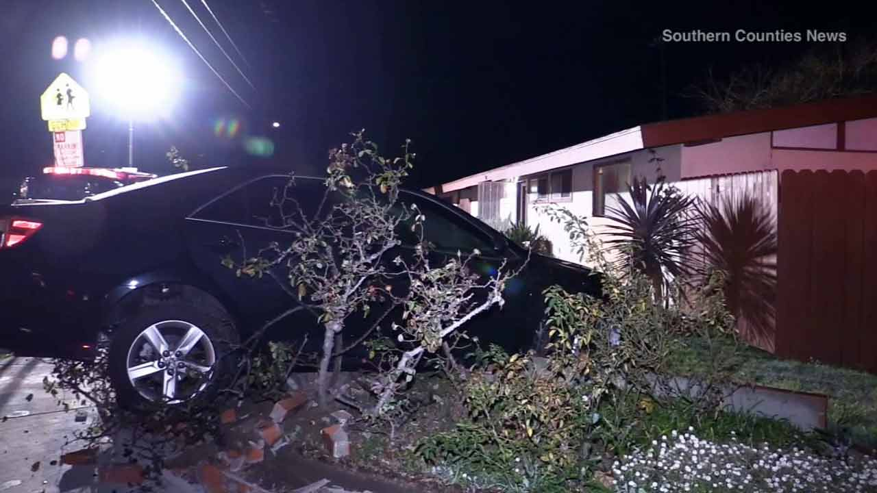 A driver in Costa Mesa was arrested for allegedly driving under the influence after he rammed a car into a house on Saturday, Jan. 17, 2015.