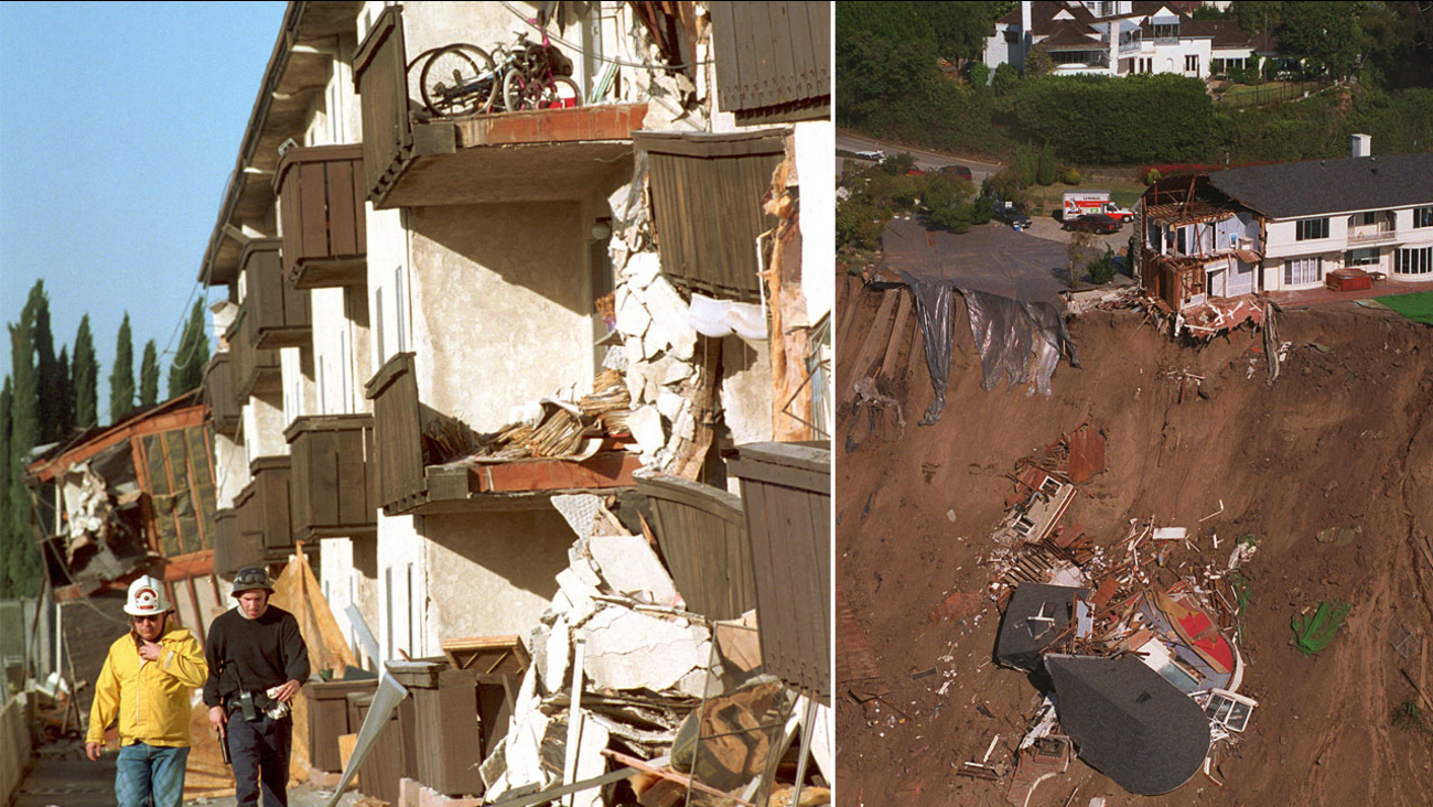 Rescue workers walk past the Northridge Meadows Apartments that collapsed during the Northridge earthquake (left). This photo shows a Pacific Palisades multimillion-dollar mansion destroyed in the Northridge earthquake (right).