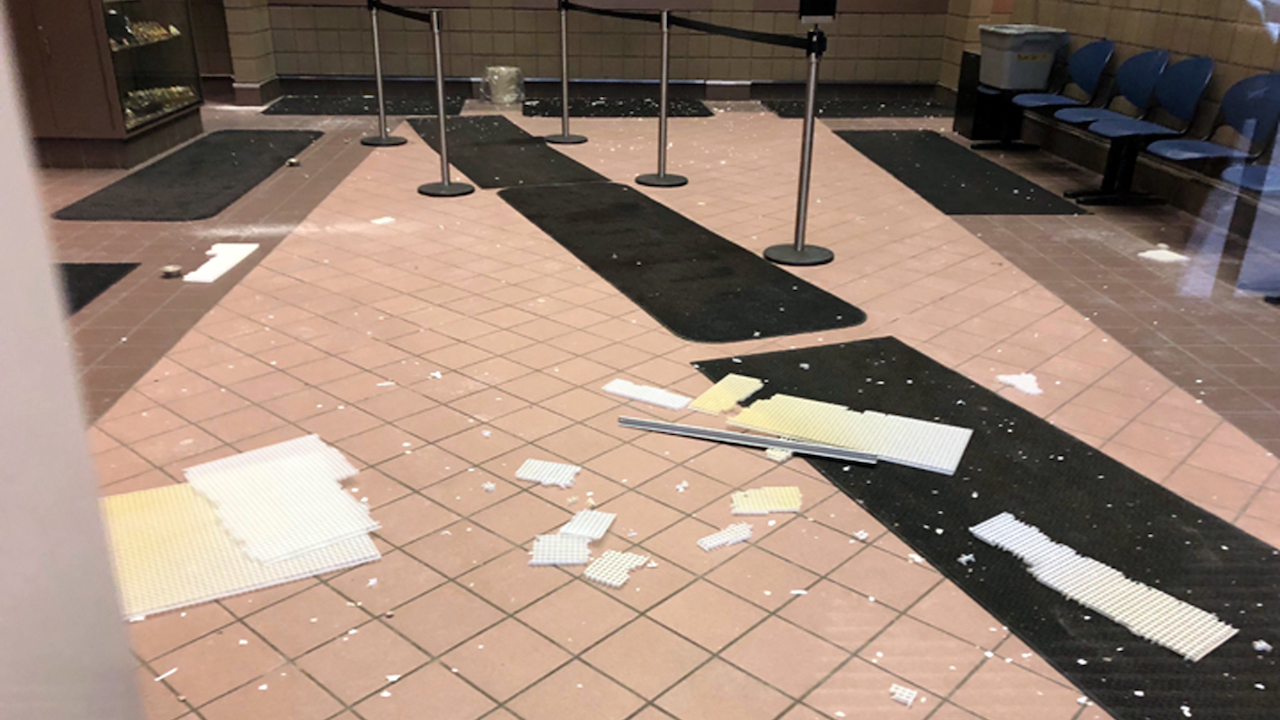 <div class='meta'><div class='origin-logo' data-origin='AP'></div><span class='caption-text' data-credit='AP Photo/Rachel D'Oro'>The interior of the police headquarters building in Anchorage, Alaska, is littered with debris following an earthquake Friday morning, Nov. 30, 2018.</span></div>