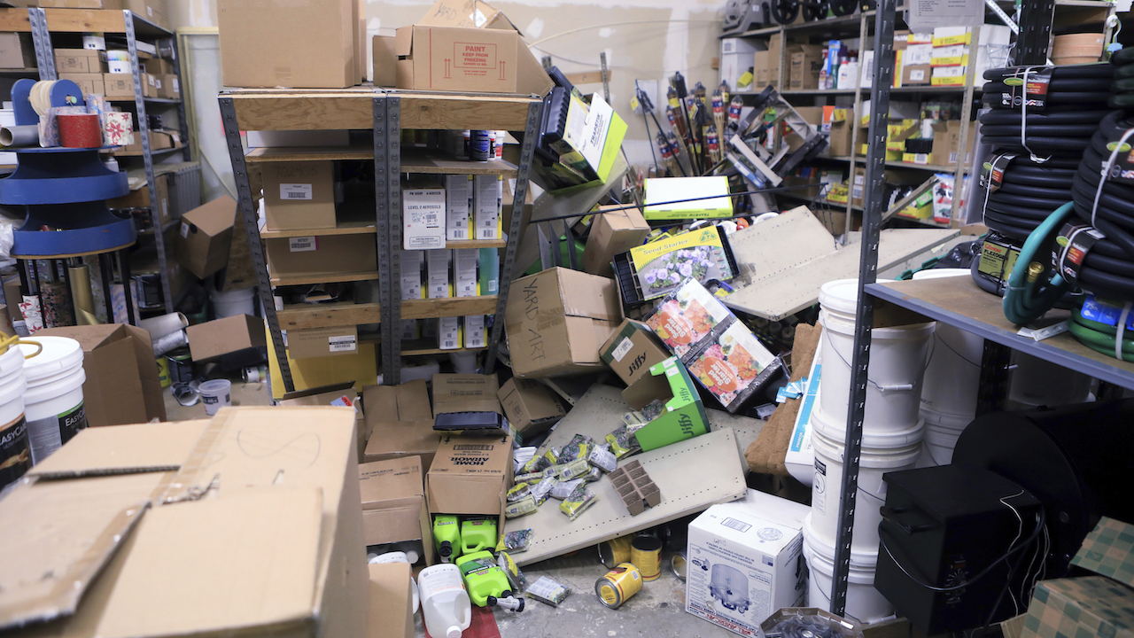 <div class='meta'><div class='origin-logo' data-origin='AP'></div><span class='caption-text' data-credit='AP Photo/Dan Joling'>Items from two shelves that came unbolted from a wall are strewn across the floor of the stockroom of Anchorage True Value Hardware following an earthquake Friday morning.</span></div>