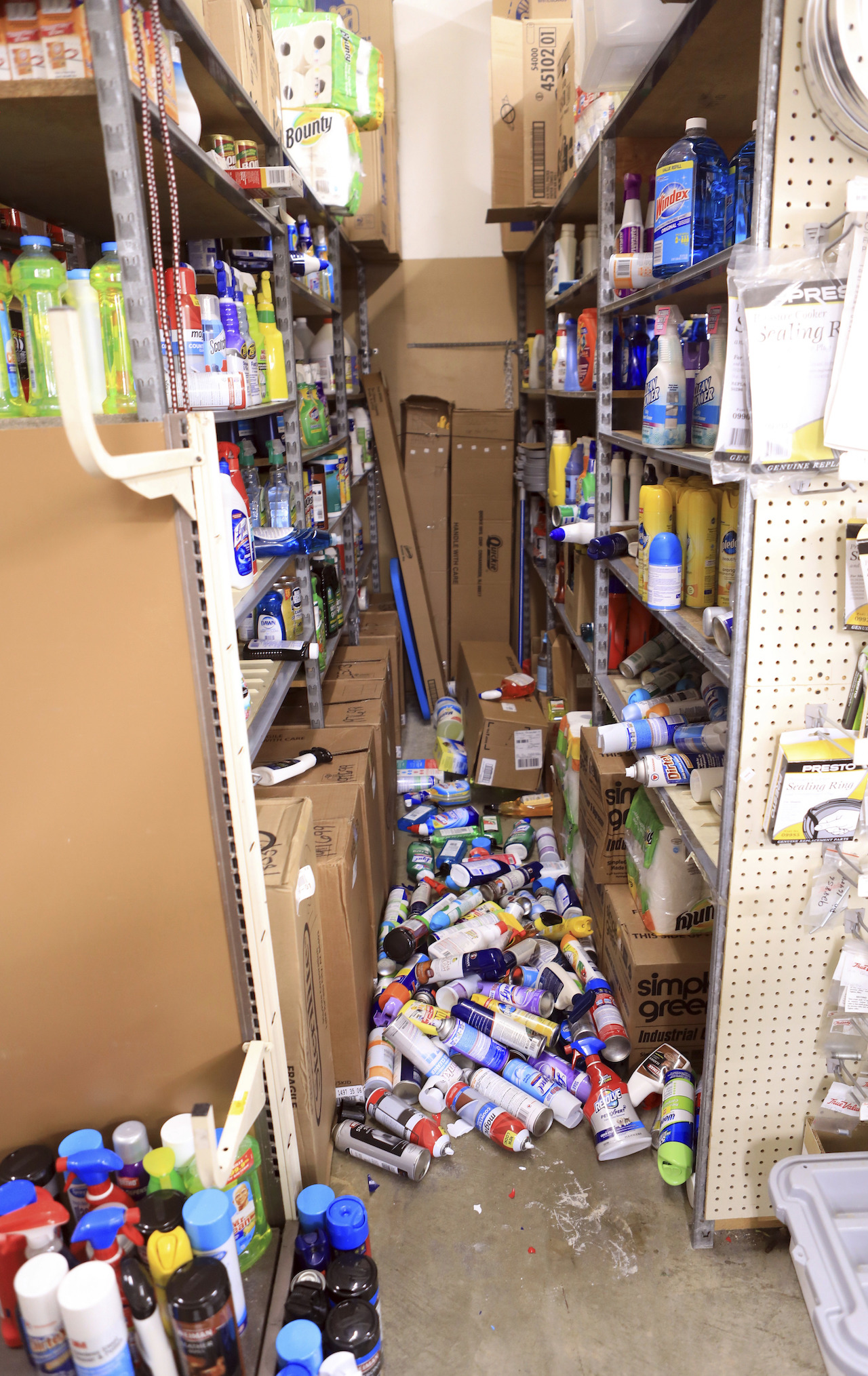<div class='meta'><div class='origin-logo' data-origin='AP'></div><span class='caption-text' data-credit='AP Photo/Dan Joling'>Cans of paint and other items litter the stockroom floor of Anchorage True Value Hardware after a morning earthquake on Friday, Nov. 30, 2018, in Anchorage, Alaska.</span></div>