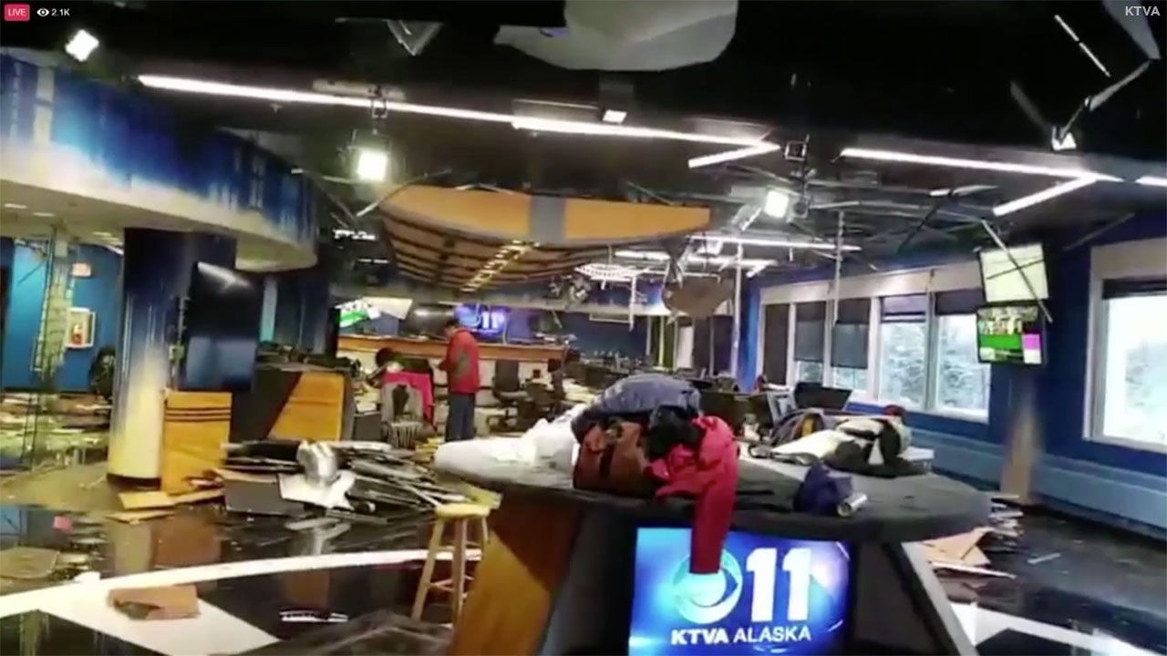 Alaska Earthquake Leaves Anchorage Tv Station Ktva Heavily Damaged California Earthquakes 1 Turn Off Gas