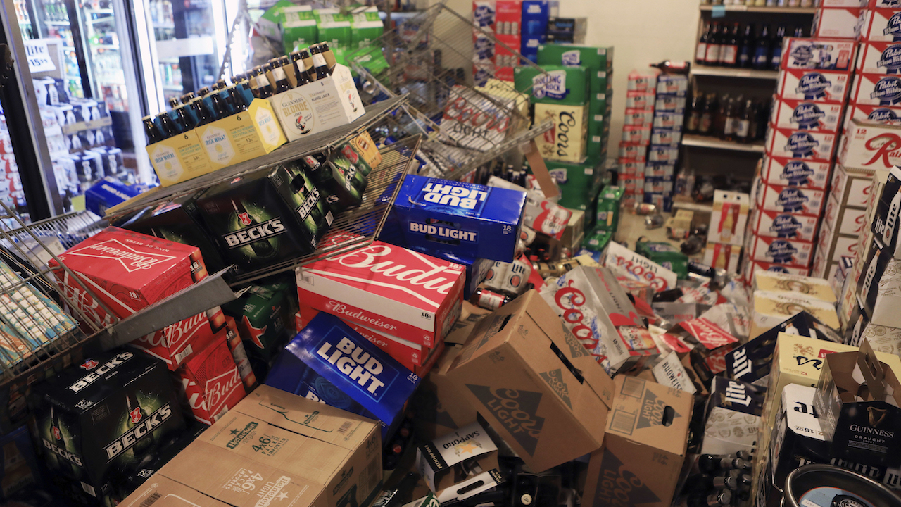 <div class='meta'><div class='origin-logo' data-origin='AP'></div><span class='caption-text' data-credit='AP Photo/Dan Joling'>Cases of beer lie jumbled in a walk-in cooler at a liquor store, Value Liquor, after an earthquake on Friday, Nov. 30, 2018, in Anchorage, Alaska.</span></div>